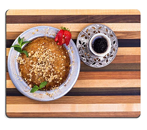 Price comparison product image Luxlady Mouse Pad Natural Rubber Mousepad IMAGE ID: 22259735 Turkish Dessert Kunefe on a multicolor wooden cutting board with Turkish Coffee