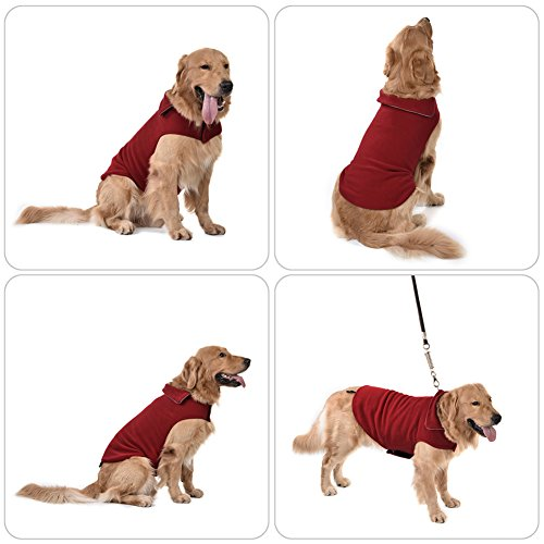 Pet Dog Winter Vest Coat Reversible Soft Cotton Warm Jacket with Velcro Design for Various Sized Dogs (L, Wine Red)