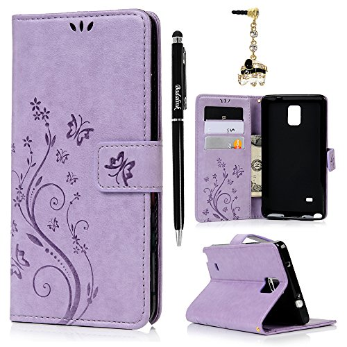 Note 4 Case,Galaxy Note 4 Case - Wallet Case Folio Kickstand Case 3D Embossed Butterfly PU Leather Case Shockproof Soft TPU Bumper Slim Protective Card Slot Hand Strap Cover by Badalink - Light Purple (Samsung Galaxy Note 4 Wallet Case)