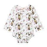 NUWFOR Newborn Infants Baby Girls Bow Cartoon Rabbit Print Romper Bodysuit Outfits(White,12-18Months