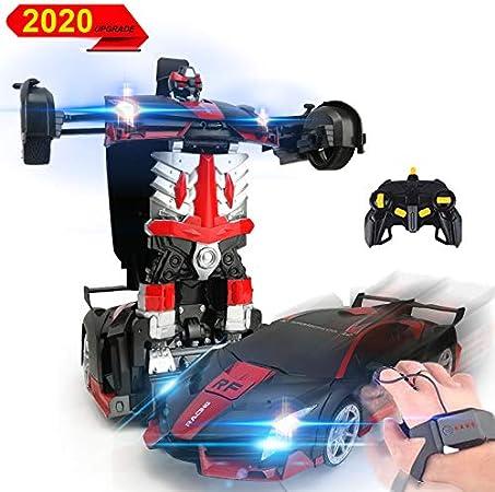 3T6B 1:12 Coche de Deformación Teledirigido, 2,4 GHz Control Remoto Coches, Stunt RC Car con música sonido luces LED, un Botón Gesture Inducción Función Twisting Vehicle, Niños Juguetes - Rojo