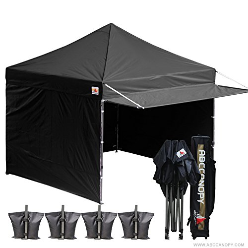 ABCCANOPY (20+colors 10×10 Easy Pop up Canopy Tent Instant Shelter Commercial Portable Market Canopy with Matching Sidewalls, Weight Bags, Roller Bag,BOUNS Canopy awning (black) Review