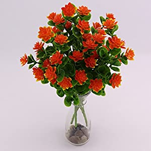 Flameer Camellia Artificial Fake Silk Flower Home Wedding Decoration Orange-red 3