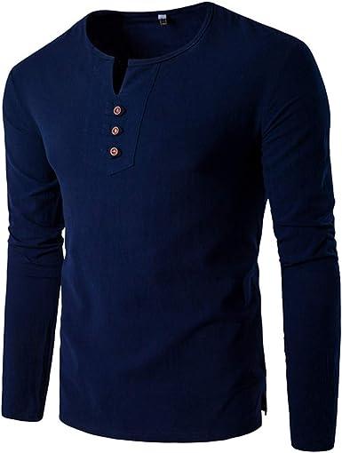 2019 - Camiseta de Manga Larga para Hombre con Cuello en V, Talla Grande, para Hombre Azul M: Amazon.es: Ropa y accesorios