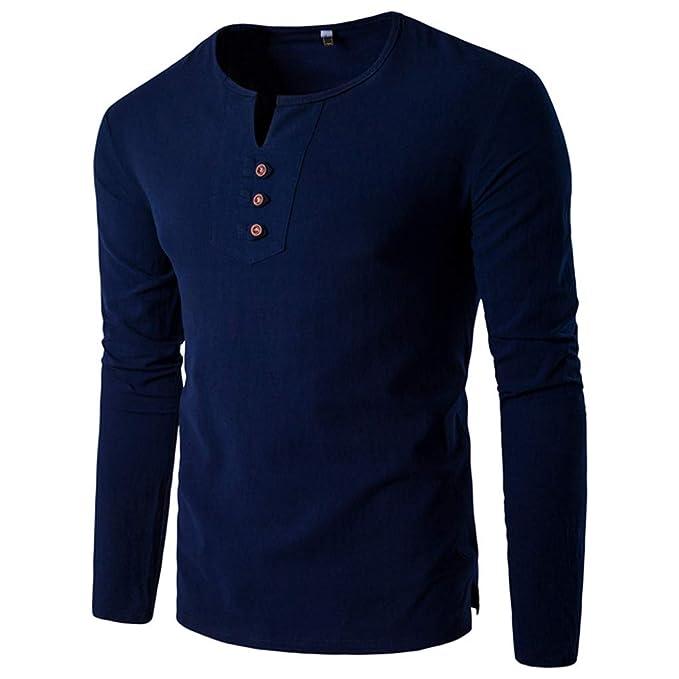 52cf7b6ea Blusa de Hombre Camisetas Abierta Color sólido Lino Casual Hombres ...