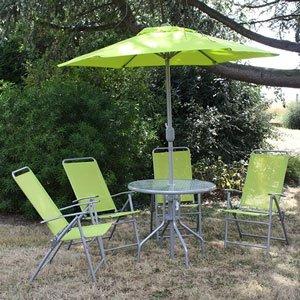 Moneden - Salon de jardin CALVI vert avec une table verre, 4 chaises ...