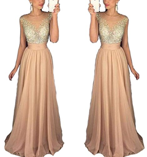 (Women's Sleeveless Beaded Bodice Evening Party Dress Chiffon Sequins Long Homecoming Dress Champagne US20 Plus)