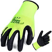 FWPP High Visibility Nylon Latex Wrinkle Coated Work Gloves,Breathable Soft Wearproof Non-slip