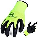 FWPP High Visibility Nylon Latex Wrinkle Coated Work Gloves,Breathable Soft Wearproof Non-slip Comfortable Safety Protective Glove,Pack of 12Pairs Large, Fluorescence Yellow