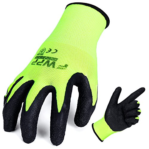 FWPP High Visibility Nylon Latex Wrinkle Coated Work Gloves,Breathable Soft Wearproof Non-slip Comfortable Safety Protective Glove,Pack of 12Pairs Large, Fluorescence Yellow (Dipped Gloves Nylon)