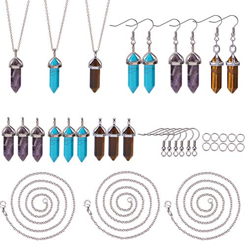 (SUNNYCLUE 9pcs Hexagonal Chakra Bullet Gemstone Pendant Healing Pointed Quartz Crystal Stone Charm with 3 Strands 18