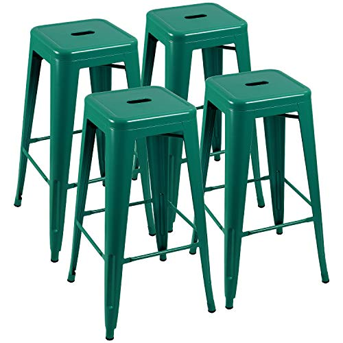 Furniwell 30 Inches Metal Bar Stools High Backless Tolix Indoor-Outdoor Stackable Barstool with Square Counter Seat Set of 4 (Green) ()