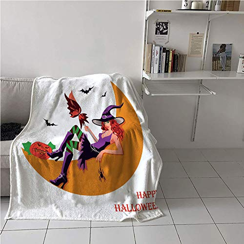 Suchashome Witch Digital Printing Blanket,Sexy Witchy Woman on The Moon Flying Bats Spider and Pumpkin Happy Halloween Fantasy,Plush Throw Blanket,Digital Printing Blanket 60