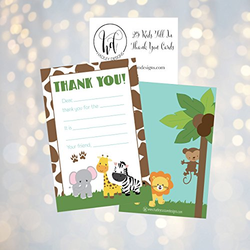 25 Jungle Kids Thank You Cards, Fill In Thank You Notes For Kid, Blank Personalized Thank Yous For Birthday Gifts, Stationery For Children Boys and Girls Photo #4