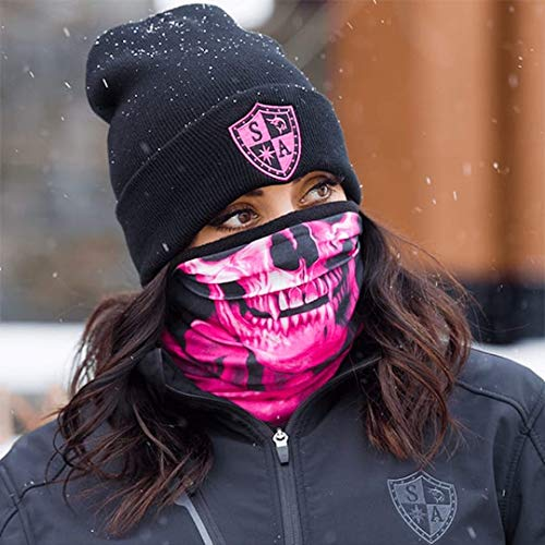 SA Frost Tech Thermal Fleece Face Shield - Winter Face Mask for Men or Women (Pink Crow)