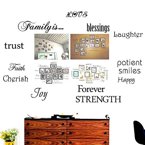 Cheap  Family Wall Decals~Set of 12 Family Words Quote Art Stickers Wall Decal..