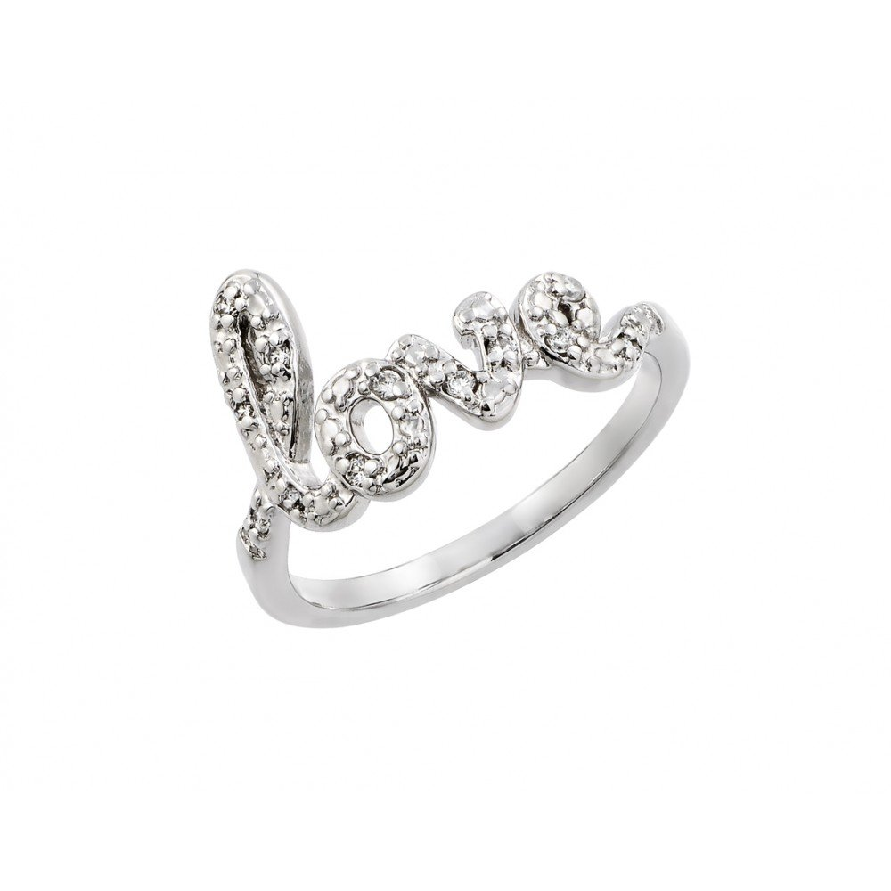 Clear Cubic Zirconia Love Ring Rhodium Plated Sterling Silver Size 5