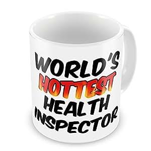 Coffee Mug Worlds hottest Health Inspector - Neonblond
