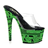 Pleaser Women's Stiletto Uv-Activated Cyber Print Platform Slide (Clear/Lime) Picture