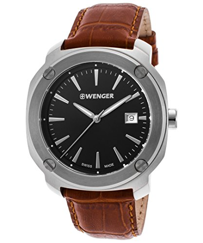 Wenger 01-1141-111 Men's Edge Index Brown Genuine Leather Black Dial Watch