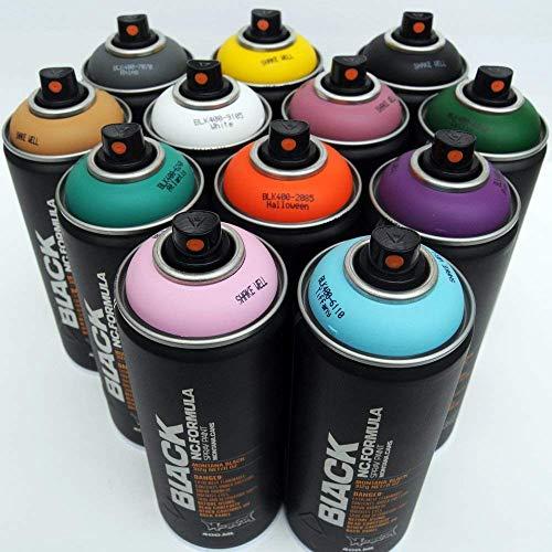 Montana BLACK 400ml Complementary Colors Set of 12 Graffiti Street Art Mural Spray Paint