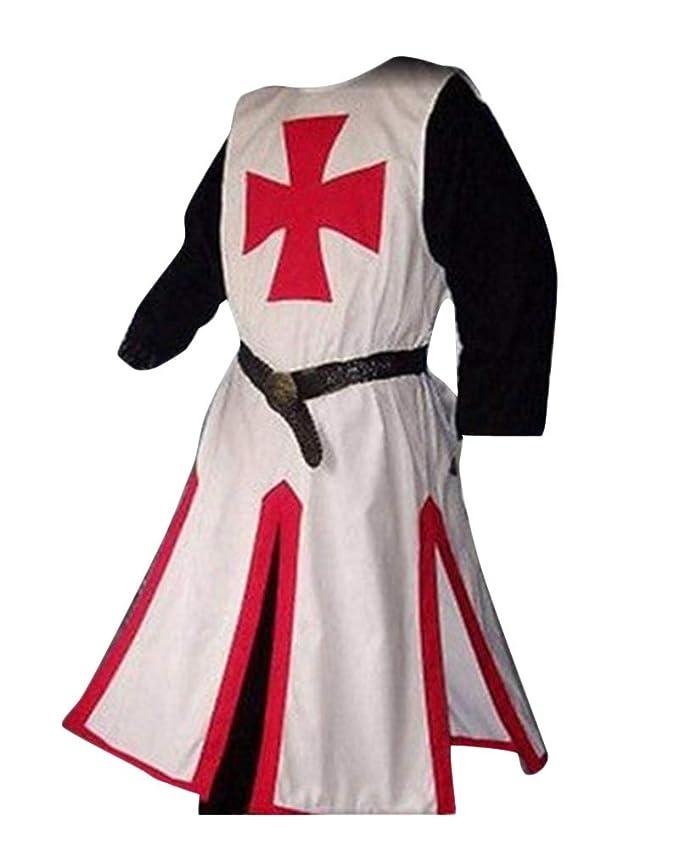 LiangZhu Túnica Medieval para Hombre Dividir Cruzar Medieval Traje De Escenario Halloween Cosplay Sin Cinturón