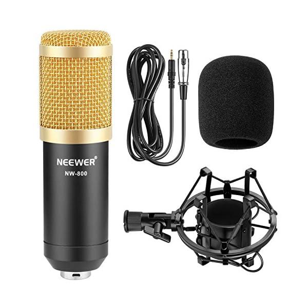 Neewer NW-800 Studio - Set microfono a condensatore professionale NW-800, con assorbimento degli urti, a sfera anti-vento, in schiuma, cavo di alimentazione per microfono 2 spesavip
