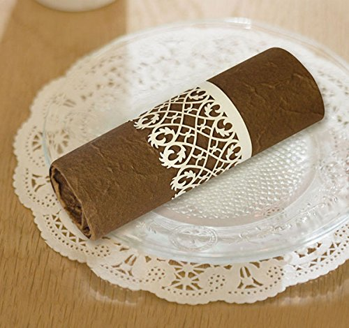 (Ivory) Paper Craft Laser Cut Lace Napkin Rings Wedding Party Table Decoration 50 Pcs