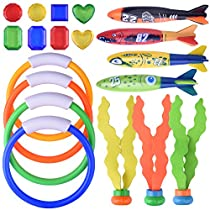 BONROB Diving Underwater Swimming Toy Set Rings Torpedo Sharks Water Grass Gem for Kids Diving BG002