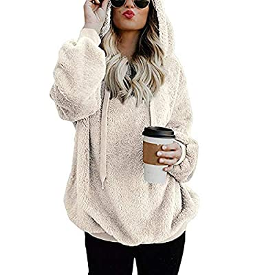 Women Long Sleeve Hoodies Pullover Teen Girls Sweatshirts Wool Zipper Shirts Sweater Blouse Tops