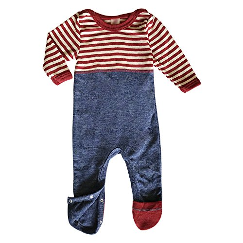 EcoAble Apparel Toddler Baby Footed Romper Overall Pajama, Long Sleeves, Organic Merino Wool (50-56cm/0-3 Months, Red Stripes) (Wool Overall)