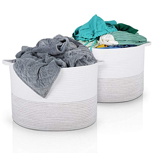 Hamps XXL Woven Basket | Set of 2 Cotton Rope Baskets | 22 x 22 x 14 | Laundry Basket, Blanket Storage Baskets, Dog Toy Basket, Baby Toy Storage Bins, Large Laundry Hamper, Toy Box, Kids Storage Bin