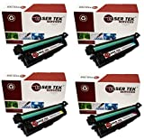 Laser Tek Services Compatible Toner Cartridge Replacements for the HP CE270A, CE271A, CE272A, CE273A. (Black, Cyan, Magenta, Yellow, 4-Pack)