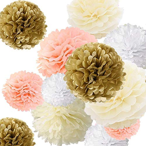 568 Rose - Fonder Mols Tissue Pom Paper Flowers Decorations Set for Baby Shower Birthday Wedding Bridal Shower Nursery Wall Backdrop (Champagne Peach Ivory White, Set of 24)