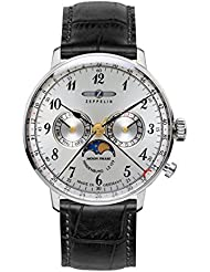 Zeppelin Series LZ129 Hindenburg Mens Multifunction Day/Date Moon Phase Watch Silver with Black Strap 7036-1