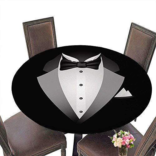 - PINAFORE Round Polyester Tablecloth Table Cover Tuxedo with Bow tie on a Black for Most Home Decor 67