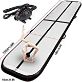 FBSPORT Inflatable Gymnastics AirTrack Tumbling Mat Air Track Floor Mats with Electric Air Pump for Home Use/Training/Cheerleading/Beach/Park and Water Length 9.8foot-(300cm) (Black, 39)