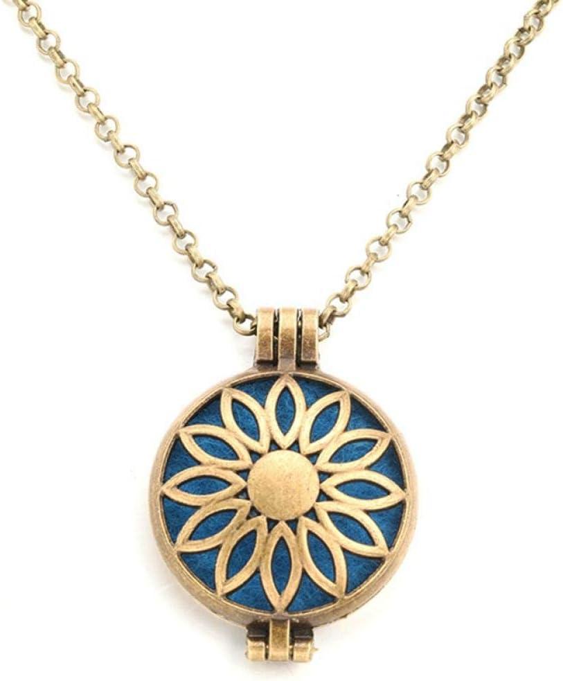 Collar Difusor De Aceite Esencial De Aromaterapia30Mm De Moda Al Por Mayor Exquisito Aceite Esencial Difusor Collar De Alta Calidad Retro Aroma Medallón Colgante