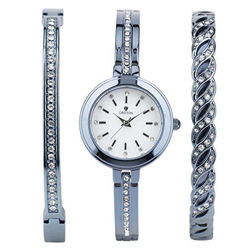 CROTON Women's Bracelet Set Quartz Watch with Brass Strap, Blue, 7 (Model: - Bracelet Stainless Croton Steel