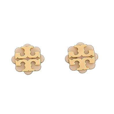 594d4531c Amazon.com: Tory Burch Logo Flower Resin Stud Earrings Light Oak Gold:  Jewelry