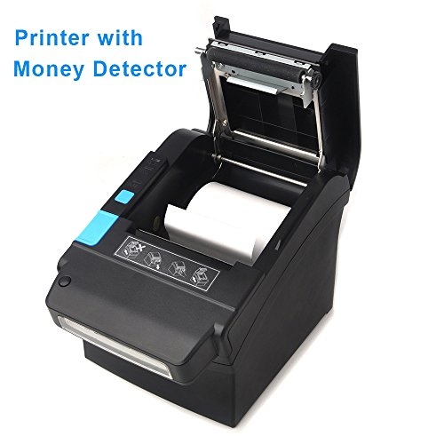 80MM Thermal Receipt POS Printer MUNBYN with US Dollar Currency Money Detector Professional Printer with USB LAN Serial Port Payment Machine for Home Business, Shop, Supermarket ()