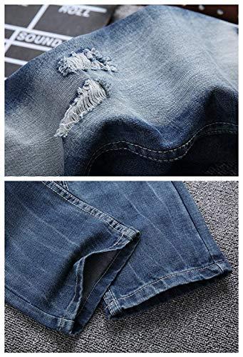Uomo Battercake In Strappati A Fit Gamba Denim Comodo Colour Distrutti Dritti Slim Da Pantaloni Jeans Dritta nxnBaSX