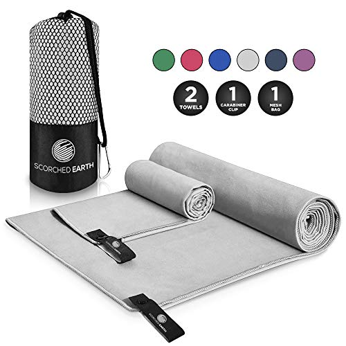 (ScorchedEarth Microfiber Travel & Sports Towel Set (Slate Gray) - Large Set (30x60 & 12x24))