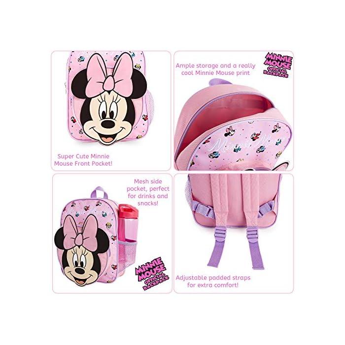 51McrRl%2BSCL MOCHILA ESCOLAR DE MINNIE --- ¡El mejor regalo para todos los fans de las películas de Disney! Esta bonita mochila de color rosa en diseno 3D es perfecta tanto para ir al colegio como para ir de vacaciones. Presenta a tu personaje favorito de Disney Minnie Mouse y su famoso lazo. Tiene espacio suficiente para libros, ropa o juguetes y viene con correas acolchadas para mayor comodidad. MERCHANDISING OFICIAL DE DISNEY --- Nuestras mochilas escolares de Disney tienen licencia oficial, por lo que no se preocupe, cuando compra a través de nosotros está adquiriendo un producto de calidad. GRAN CAPACIDAD --- Esta mochila clásica de Disney tiene espacio suficiente para guardar material escolar, juguetes, el almuerzo o un cambio de ropa. Cuenta con un compartimento principal con cremallera, un bolsillo lateral de malla para bebidas, y un pequeño bolso en la parte delantera que pueden usar a modo de estuche escolar.