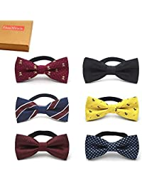 Baby Gift Box with Pre-Tied Adjustable Neck Strap Boys Bow Tie Value, Set of 6 (Set B), One Size