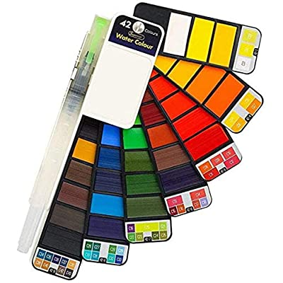 nobrand 42 Colors Watercolor Paint Professional Painting Tool Travel Portable Foldable for Children Adult Painting Joy: Toys & Games