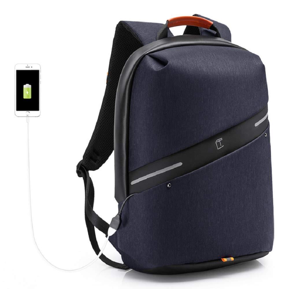 WSJ USB充電コンピュータバックパック USB充電インターフェース付き 盗難防止デザイン 無地 防水 ファッション 大容量 旅行レジャーバッグ  ブルー B07K58X517