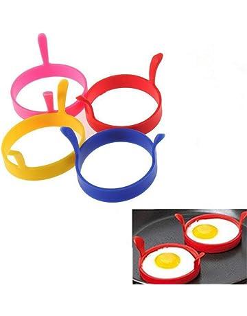Ogquaton 4 Piezas de Forma Redonda de Silicona Omelette Alta Temperatura Resistencia panqueque Molde con Asas