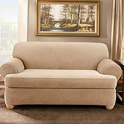 Amazon.com: Hebel Stretch Stripe T-Cushion Two Piece Sofa ...