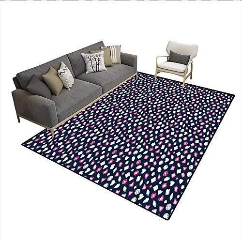 e Square and Heart Shaped Crystals with Ruby Arrangement,Non Slip Rug Pad,Dark Blue Pink Pearl 6'6